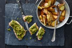 Pistachio-topped pork steaks