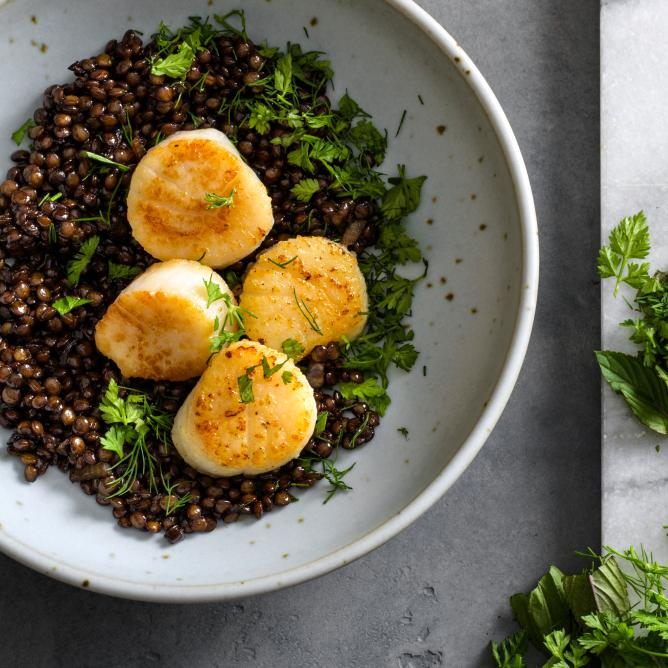 Scallops on a Bed of Balsamic Lentils