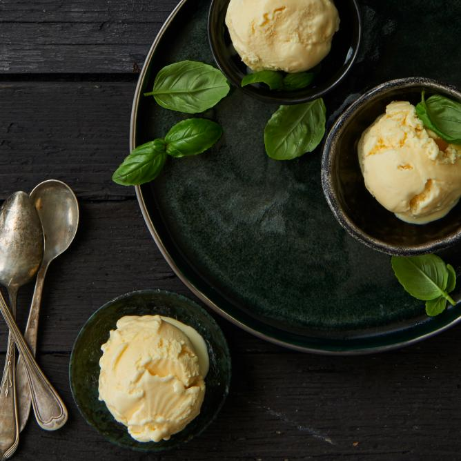 Basil and olive oil ice-cream