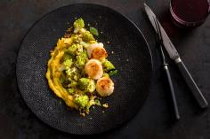 Scallops with Crispy Romanesco Broccoli