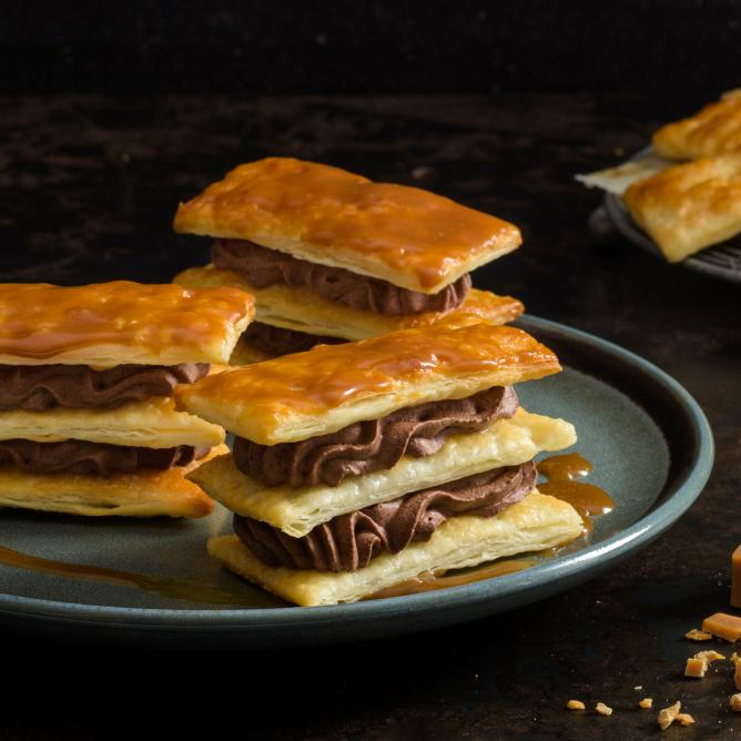 Chocolate Caramel Cream Millefeuille