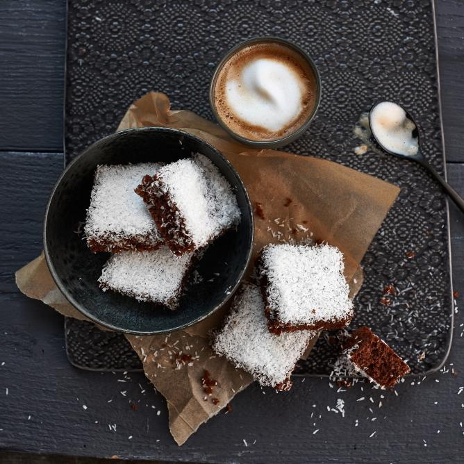 Chocolate, coconut and coffee slices