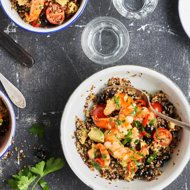 Prawns on a bed of quinoa salad
