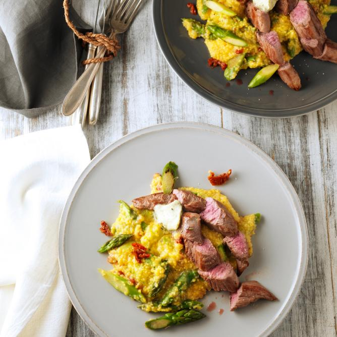 Lamb Fillets with Asparagus Polenta and Gorgonzola Butter