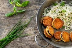 Aubergine Piccata with Herb Rice