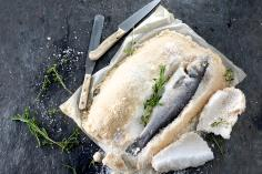 Salt-crusted sea bass