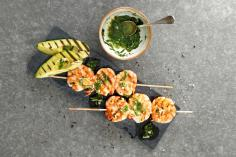 Prawn kebabs with chilli & avocado