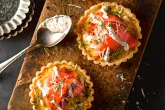 Sauerkraut Honey Quiche with Gravlax & Mustard Cream