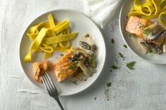 Saffron pasta with salmon