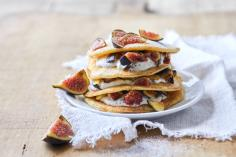 Lemon & poppy seed pancakes with figs