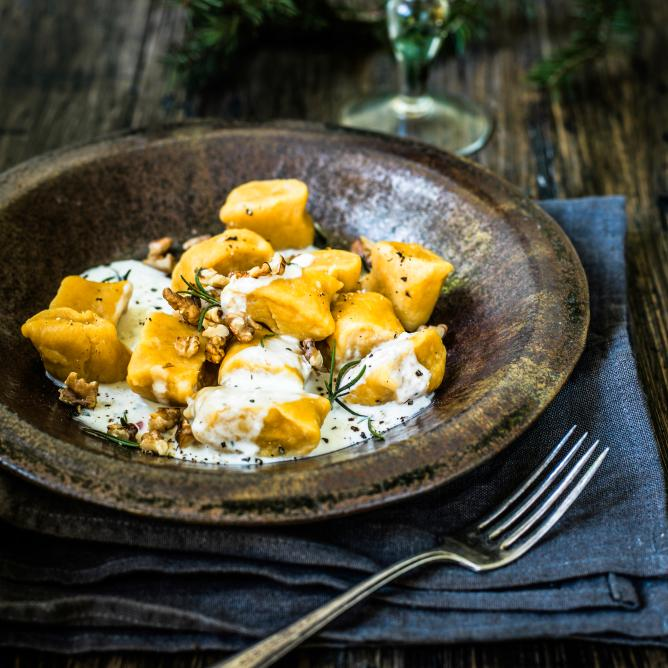 Sweet potato gnocchi with rosemary & feta cream sauce