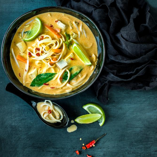 Asian noodle soup with tofu