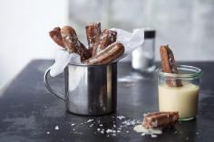 Dark Churros with White Chocolate Sauce
