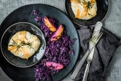 Tofu strudel parcels with apple & red cabbage