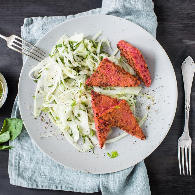 Beetroot Polenta Slices with Fennel Ginger Salad