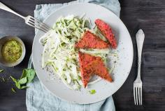 Beetroot & polenta slices with fennel & ginger salad