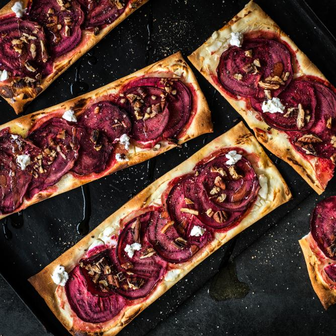 Beetroot and goat's cheese tarte flambée