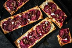 Beetroot Goat Cheese Tarte Flambée