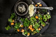 Warm sweet potato & curly kale salad