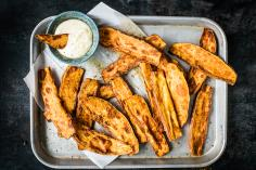 Sweet potato wedges with cheese dip