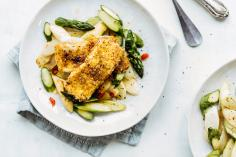 Crumbed halloumi with asparagus salad