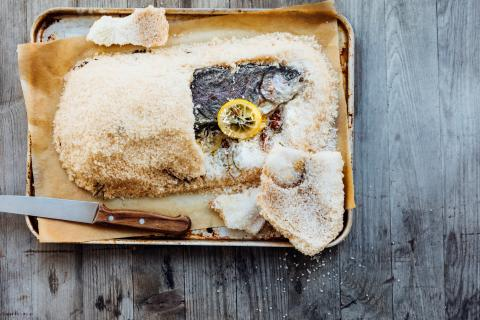 Salt-crusted trout