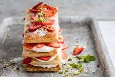 Strawberry & cream slices