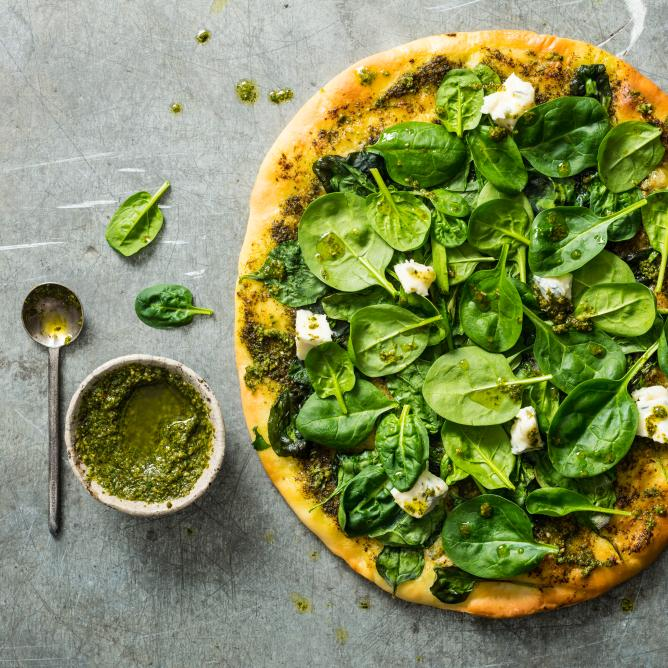 Pizza Pesto et épinards