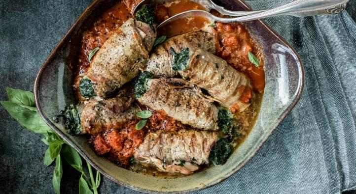 Veal involtini with spinach