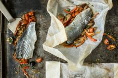 Lake trout fillet cooked in parchment paper