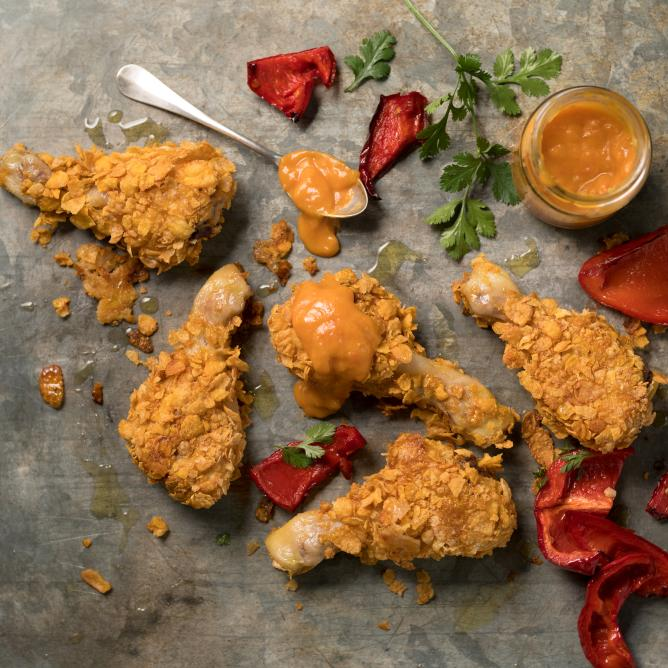 Crispy chicken with apricot ketchup