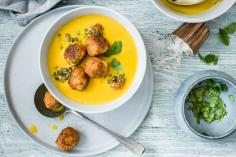 Carrot Lentil Soup with Vegetable Balls