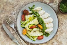 Poached chicken breast with courgette