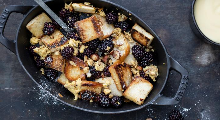 French toast pieces with blackberries