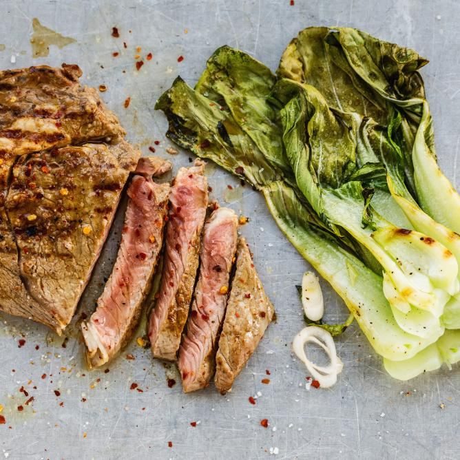 Korean beef with pak choi