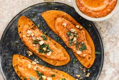 Sweet potato toast with muhammara