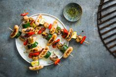 Chipolata & vegetable skewers