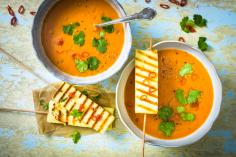 Gazpacho with Paneer Brochettes