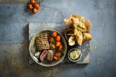 Grilled Lamb Loin with Olive Butter and Cherry Tomatoes