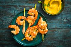 Grilled prawns with a sweet potato dip