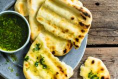 Grilled flatbread with herb oil