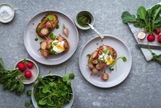 Poached Egg Pesto Radish Open Sandwich