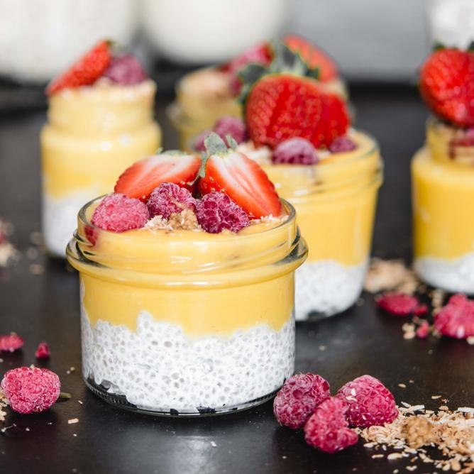Vanilla Chia Pudding with Mango & Matcha Cream