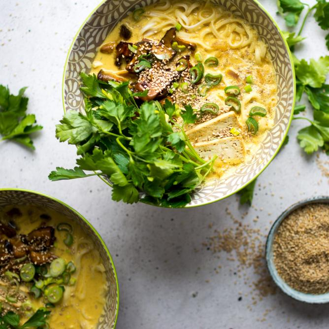 Coconut curry ramen with marinated mushrooms