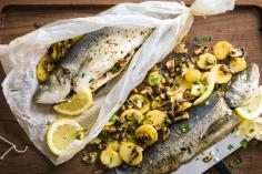 Stuffed sea bass cooked in paper