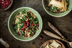 Barley risotto with spinach and mushrooms