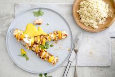 Spiedini di pollo e mango