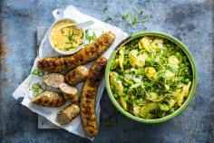 Herbed potato salad with sausage