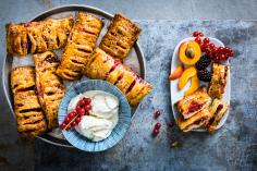 Summer fruit pastry slices
