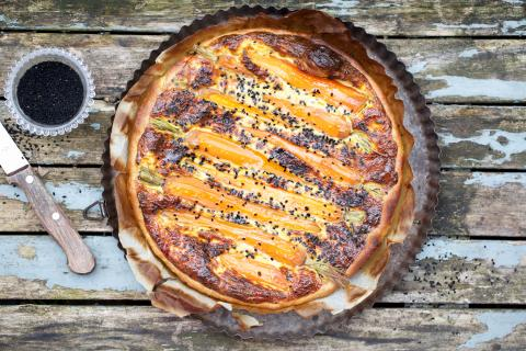Carrot & honey mustard quiche with sesame seeds